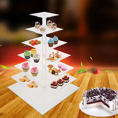 7 Tier Acrylic Glass RSquare Cupcake Stand Tower/ Cake Stand for Wedding Party