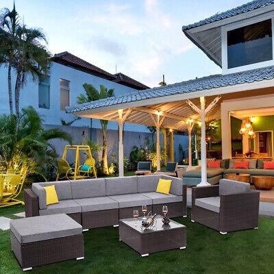 7PCS Patio Rattan Garden Furniture PE Wicker Sofa Set Backyard Outdoor Cushioned Steel Garden Furniture