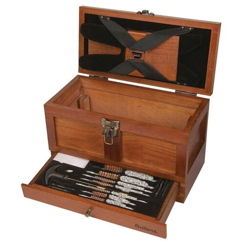 Wood Tool Box Hunting Gun Cleaning Chest Cabinet Primitive Wooden Storage >.22