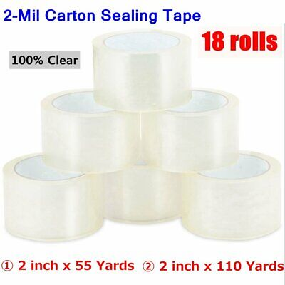 18 Rolls Clear Packing Packaging Carton Sealing Tape 2 X110 Yards 2 X 55 Yards