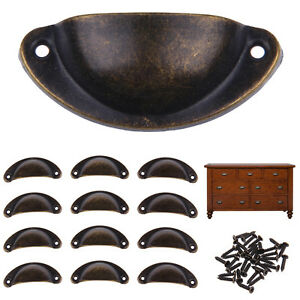 12pcs Cupboard Cabinet Cup Drawer Furniture Antique Shell Pull Handle + Screws