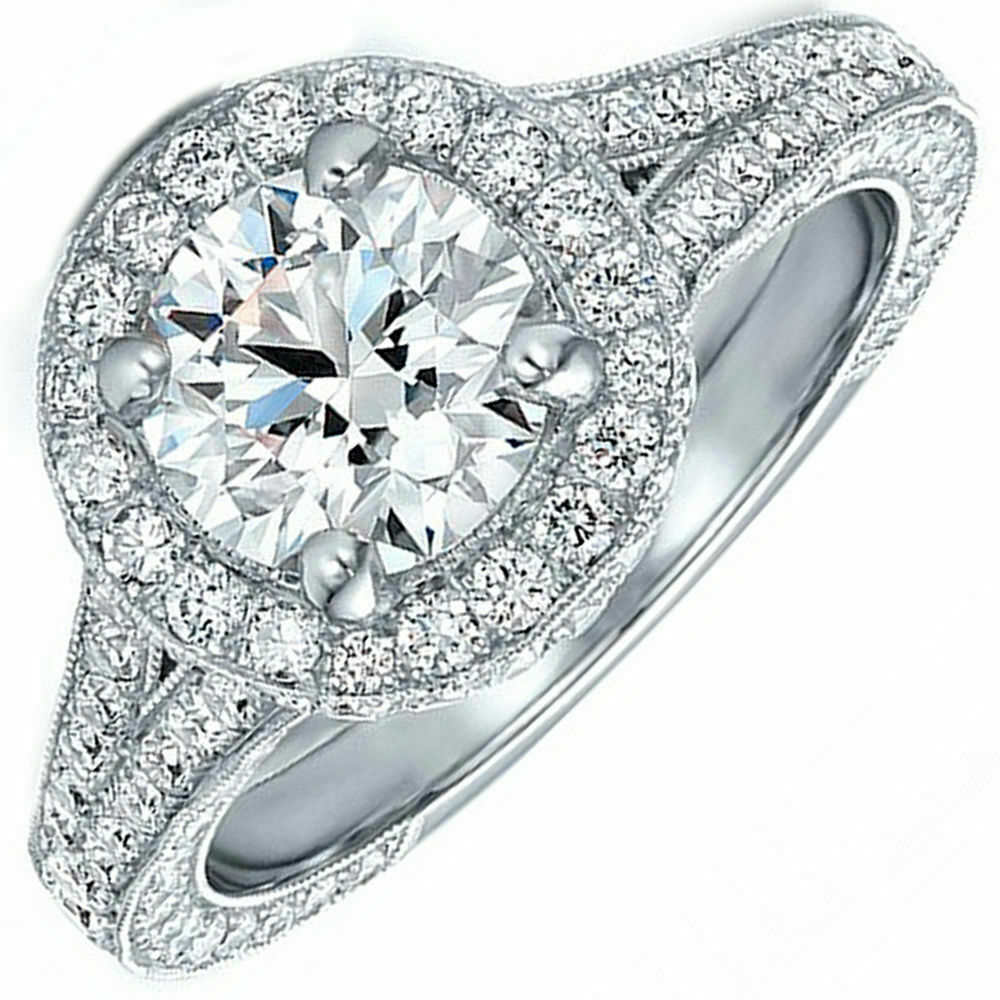 GIA Certified Round Brilliant Diamond Engagement Ring 18k White Gold 5.70 CTW