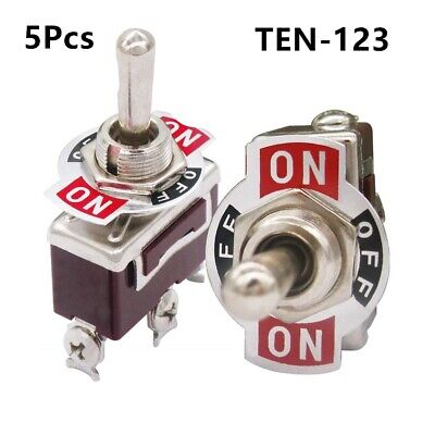 5pcs Heavy Duty Rocker Momentary Toggle Switch Spdt 3 Pin On-off-on Switch
