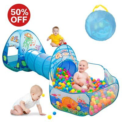 Kids Play Tent with Tunnel, Ball Pit Play House for Boys, Girls, Babies and