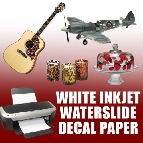 "Waterslide Decal Paper, INKJET WHITE  8.5"" x 11"" 10 Sheet #1"