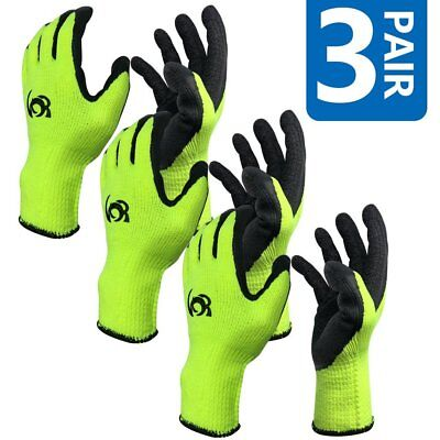 3 Pairs Work Gloves Cotton Textured Rubber Latex Coated For Construction-large