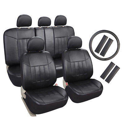 Auto Universal Fit Leather Seat Covers Set For Car Suv Trucks Black Front   Rear