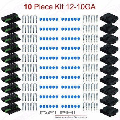 Delphi Weather Pack 6 Pin Sealed Connector Kit 12-10 GA 10PC KIT