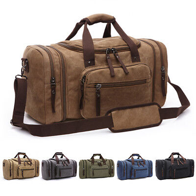 Canvas Travel Tote Luggage Large Men's Weekend Gym Shoulder Duffle Bag & Strap (Canvas Duffle)