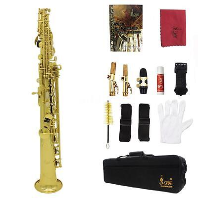 LADE Soprano Saxophone SAX Bb Brass Lacquered Gold Body and Keys Gold V6O4
