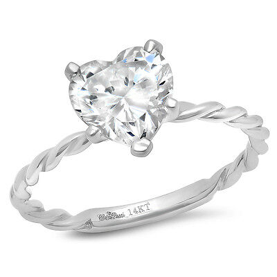 - 2 CT Heart Cut Promise Twisted Knot Rope Solitaire Ring Band14k White gold