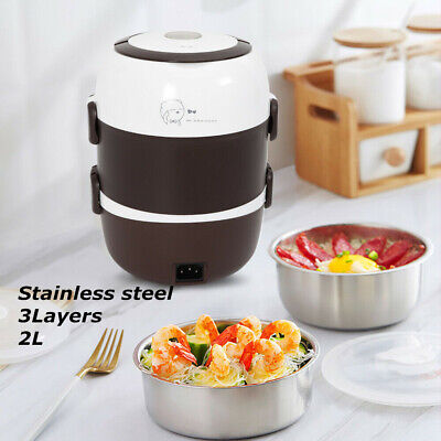 Pocket-sized  2L 3 Layers Electric Lunch Box Steamer Pot Rice Cooker Food Warmer