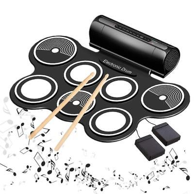 Electric Drums for Kids Roll Up Beginner Drum Set Practice Pad USB MIDI...