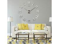 3D Wall Clock Roman Numerals Large Mirror Surface Luxury Big Art Clock