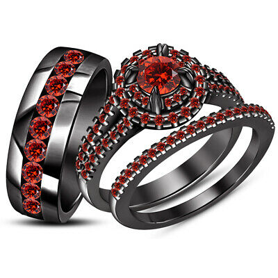 RED GARNET HIS ENGAGEMENT RING AND HER WEDDING BAND TRIO SET 14K BLACK GOLD OVER - Red And Gold Wedding
