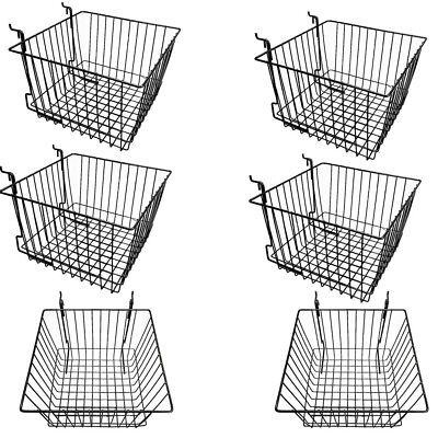 Set Of 6 Pieces Black Metal Wire Slatwall Gridwall Pegboard Deep Basket Rack