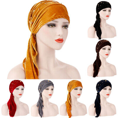 Headgear Velvet Hat (Ladies Pleated Tail Hair Head Wrap Caps Gold Beaded Velvet Headgear Turban)