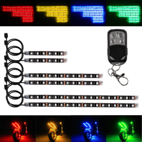6PCS Motorcycle Led Lights Wireless Remote 18 Color Neon Glow Light Strips Kit 2