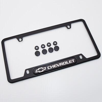For Chevrolet Brand New License Frame Plate Cover Stainless Steel Black Sport