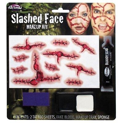 Zerschnitten Gesicht Horror Spezialeffekte Halloween Kostüm Make-Up