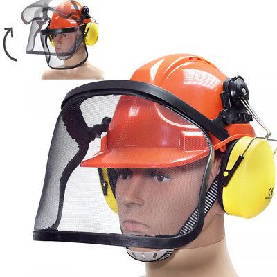 Arbeitshelm mit Gehörschutz Visier Forstschutzhelm Forsthelm (Orange Schutzhelm)