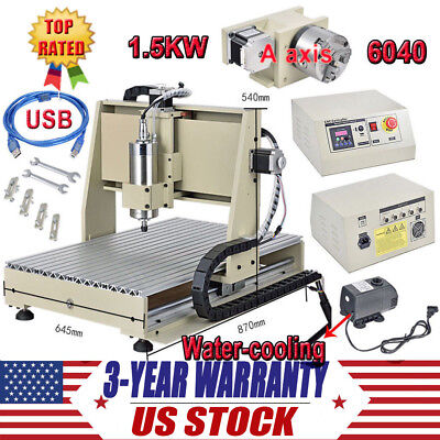 Usb 6040 1500w Vfd 4 Axis Cnc Router Engraver Engraving Milling Drilling Machine