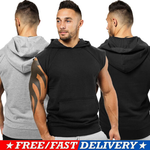 USA Men Muscle Sleeveless Hoodie Tank Top Bodybuilding Gym W