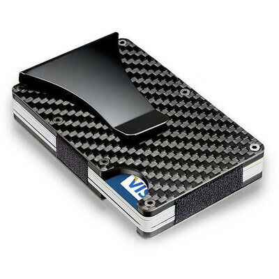 RFID Blocking Slim Carbon Fiber Money Clip Card Holder Metal Men's Wallet Gift