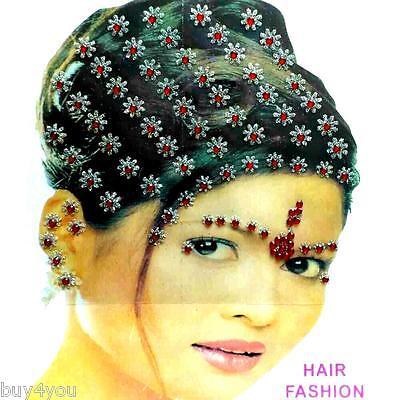 Bollywood Bindis Indisch Haarschmuck Kopfschmuck Strass Hochzeit Fasching rot
