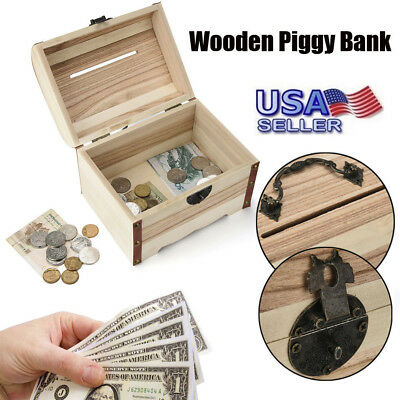 NEW Wooden Piggy Bank Safe Money Box Savings With Lock Wood Carving Handmade US