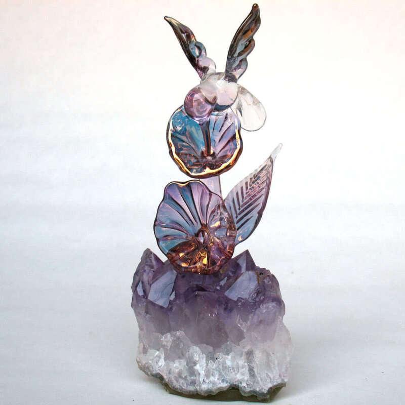 Glass Hummingbird Figurine Sculpture Hand Blown Crystal 24k Gold