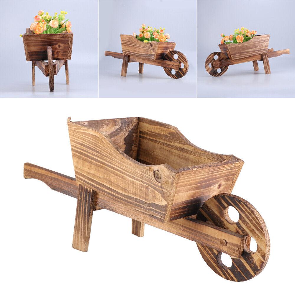 wooden cart flowerpot creative plant pot shop