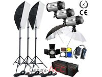Photographic flash kit 3x300 watt