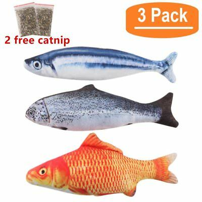 3pcs Interactive Cat Catnip Simulation Fish Plush Kitten Pillow Cushion Toys