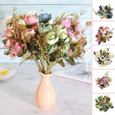 12 Köpfe Kunstblumen Künstliche Blumenstrauß Floristik Blumen Seidenblumen Deko