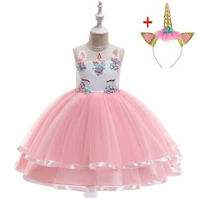 2 PC Children's Girls' Flower Unicorn Costume Birthday Tutu Dress / Headband ZG8