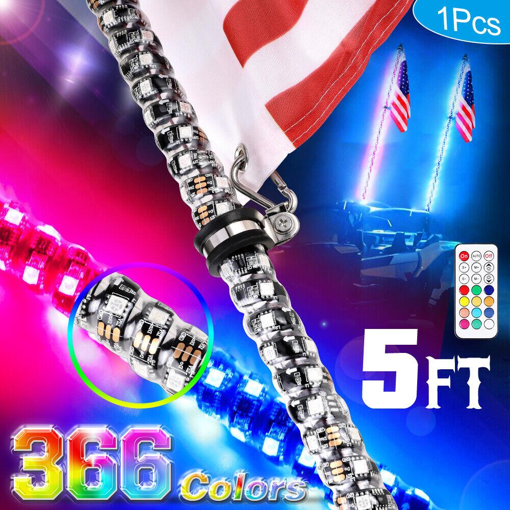 2X 5ft Lighted Spiral LED Whip Antenna w//Flag Bluetooth for ATV Polaris RZR UTV