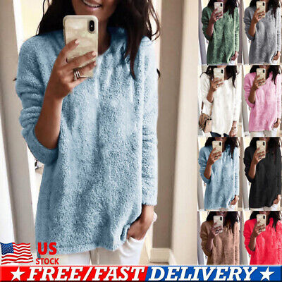 Women Ladies Plush Pullover Loose Sweater Long Sleeve Jumper Tops Tunic Coat US