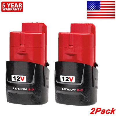 2xFor Milwaukee 48-11-2420 M12 LITHIUM Compact Battery 48-11-2402 48-11-2401 NEW