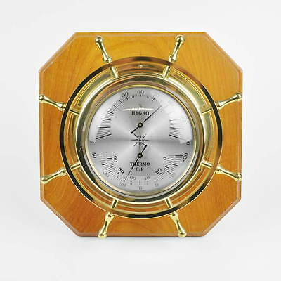 Wetterstation Wetterwarte Hygrometer Thermometer alt maritim Steuerrad Messing