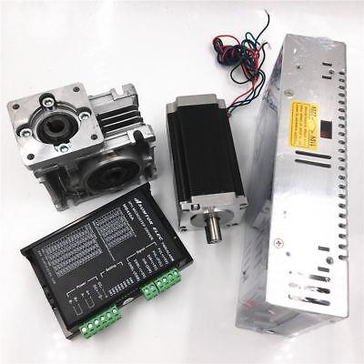 Stepper Nema23 Motor Drivepower Supply Kit Worm Gearbox 1.8nm 201 L76mm 2phase