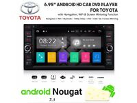 6.95 Inch Android HD WiFi Bluetooth GPS USB SD AUX Car DVD Stereo For Toyota Prius Corolla Alphard