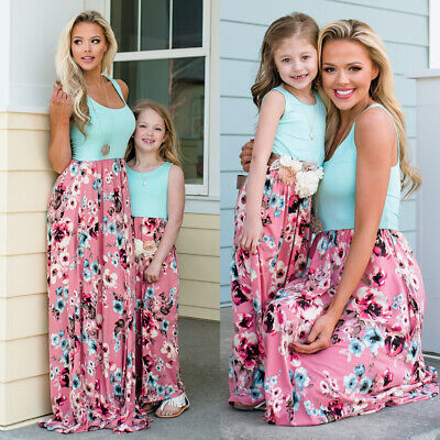 Mommy And Me (Mother Daughter Family Matching Dress Mommy and Me Floral Maxi Dresses Outfit)