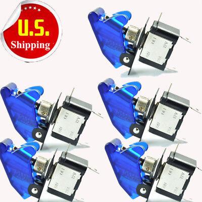 Hs 5 Blue Led Light Toggle Rocker Switch 12v 20a Spst On Off For Car Boat Hot