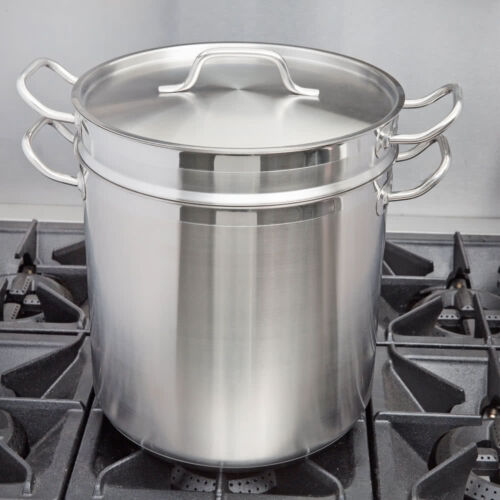 20 Qt. Stainless Steel Aluminum Clad Silver Double Boiler with Lid Cover