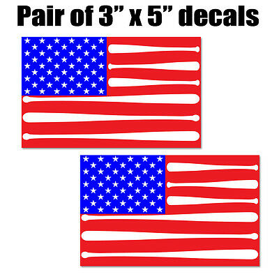 "American Flag Baseball Bat Sticker Decal Set.  2 - 3""x5"" USA Yeti Decals."