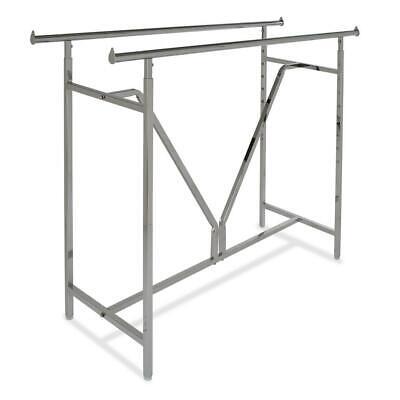 Clothing Rack Rolling Double Rail Bar Retail Clothes Salesman Garment - Chrome