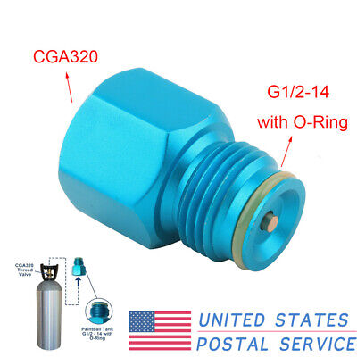Blue Adapter Converts Standard Cga 320 Male Fitting To Co2 For Pcp Cylinder Us
