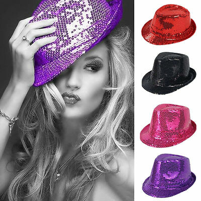 Men Women Glitter Sequin Fedora Trilby Cap Dance Jazz Hat Gangster Party Costume - Sequin Fedora