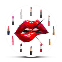 Girly Things Pretty Lipstick Funky Wall Clock Beauty Salon Silent Make Up Watch